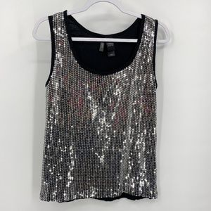 Bisou Bisou black tank top with silver sequins XL